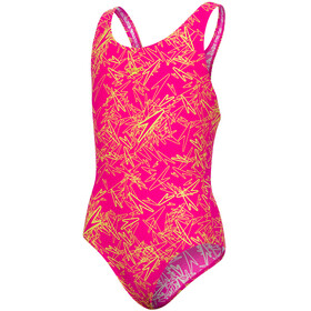 speedo Boom Allover Splashback Swimsuit Girls Electric Pink/Lime Punch